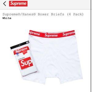Supreme/Hanes 4 pack boxer briefs white